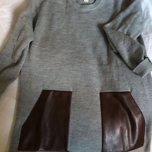 JCrew Long Sweater w Leather Pockets
